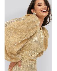 NA-KD Puff Sleeve Sequin Mini Dress - Metallic