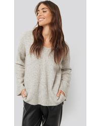 NA-KD Alpaca Knitted V-Neck Sweater - Gris