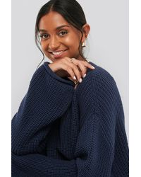 NA-KD - Cropped V-neck Knitted Sweater - Lyst