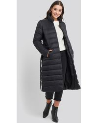 NA-KD Long Belted Padded Jacket - Noir