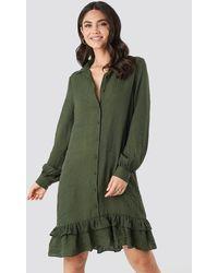 NA-KD Striped Flounce Mini Dress - Vert