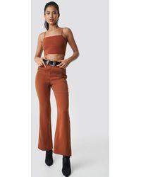 NA-KD High Waist Bootcut Suit Pants - Marron