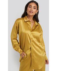 NA-KD Yellow Longline Satin Shirt