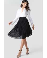 NA-KD Midi Pleated Skirt - Noir