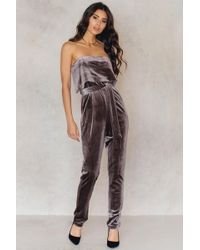 Lavish Alice - Velvet Bandeau Cropped Tie Front Jumpsuit - Lyst