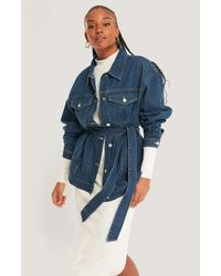 NA-KD Blue Denim Belted Jacket