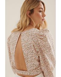 NA-KD Multicolor Balloon Sleeves And Open Back Blouse - Pink