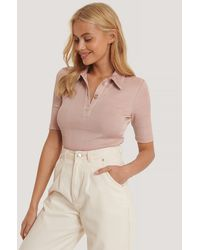 NA-KD Pink Ribbed Gold Button Top