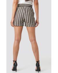 NA-KD Trend Linen Look Drawstring Shorts - Braun