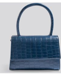 NA-KD Accessories Mini Top Handle Flap Bag - Blau