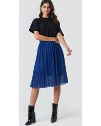 NA-KD Midi Pleated Skirt - Blau