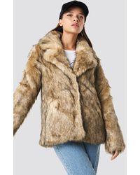 NA-KD Trend Faux Fur Collar Jacket - Mehrfarbig