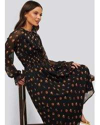 NA-KD Midi-jurk Met Lange Mouwen - Zwart