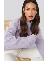 NA-KD Ribbed Knitted Turtleneck Sweater - Paars