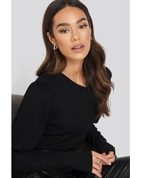 NA-KD - Puff Sleeve Ribbed Top - Lyst
