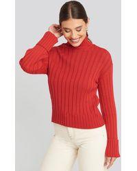 NA-KD Merino Wool Blend Ribbed Sweatshirt - Rood