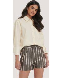 NA-KD Linen Look Drawstring Shorts - Bruin