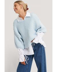 NA-KD Blue Heavy Knitted Short Sleeve Sweater