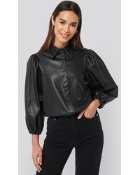 NA-KD Faux Leather Puff Sleeve Shirt Black