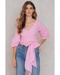 SHEIN - Ruched Sleeve Blouse - Lyst