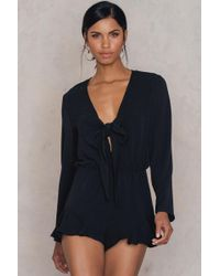 Glamorous Tie Front Ruffle Playsuit - Black