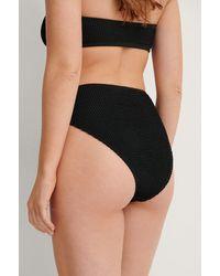 NA-KD Smocked High Waist Bikini Panty - Zwart