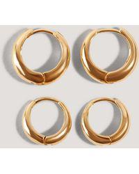 NA-KD Short Hoop Earrings (2-pack) - Metallic