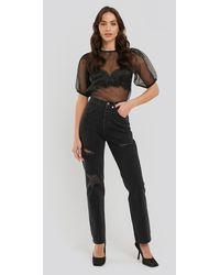 NA-KD Distressed High Waist Straight Jeans - Noir
