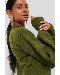 NA-KD Dropped Big Sleeve Sweater - Vert