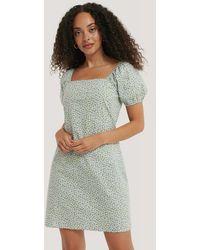 NA-KD Bedrukte Mini-jurk Met Vierkante Halslijn - Groen