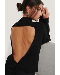NA-KD Black Open Back Knit