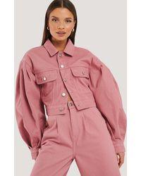 NA-KD Puff Sleeve Oversized Denim Jacket - Roze