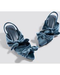 NA-KD - Velvet Bow Kitten Heels Blue Stone - Lyst