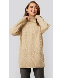 NA-KD Cable Knitted Long Sweater - Naturel