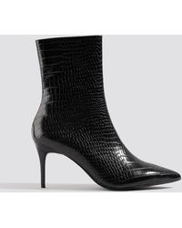 NA-KD Shoes Reptile Pointy Boots - Schwarz