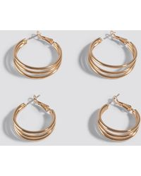 NA-KD Double Pack Layered Earrings Gold - Metallic