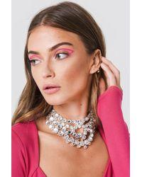 NA-KD - Layered Rhinestone Necklace Silver - Lyst