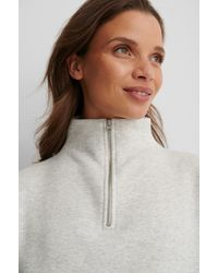 NA-KD Gray Front Zip Sweater - Multicolor