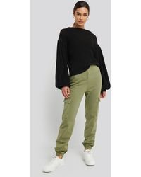NA-KD Washed Patch Pocket Joggers - Groen