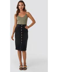 NA-KD Button Up Denim Midi Skirt - Zwart