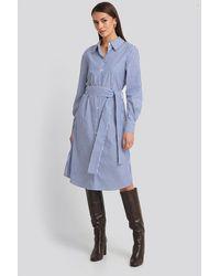 NA-KD Classic Belted Midi Shirt Dress - Blauw