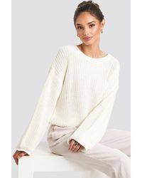 NA-KD Cropped Boat Neck Knitted Sweater - Wit