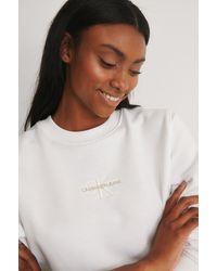 Calvin Klein Monogram Logo Crew Neck - Weiß
