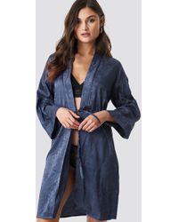 NA-KD Jacquard Satin Kimono Blue