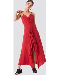 Trendyol - Front Drawstring Dress Red - Lyst
