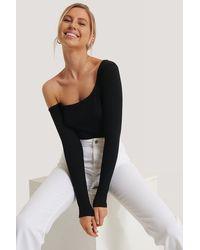 NA-KD Trend Einseitig Schulterfreier Body - Schwarz