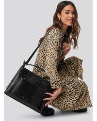 NA-KD Big Croc Shopper Bag - Zwart