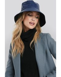 NA-KD Accessories PU Bucket Hat - Blau