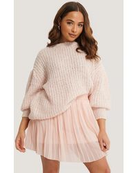 NA-KD Short Puff Sleeve Melange Sweater - Roze