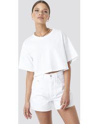 NA-KD Denim High Waist Shorts - Wit